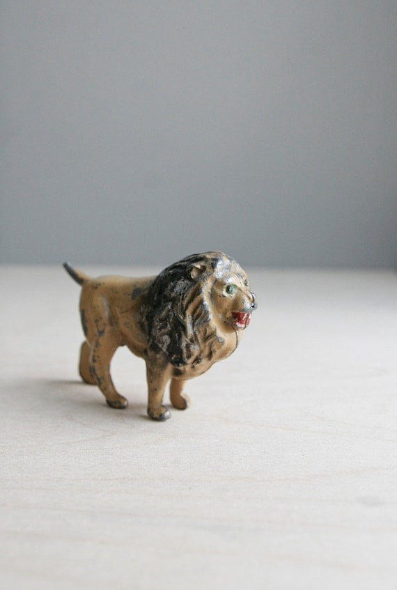 antique lead lion toy