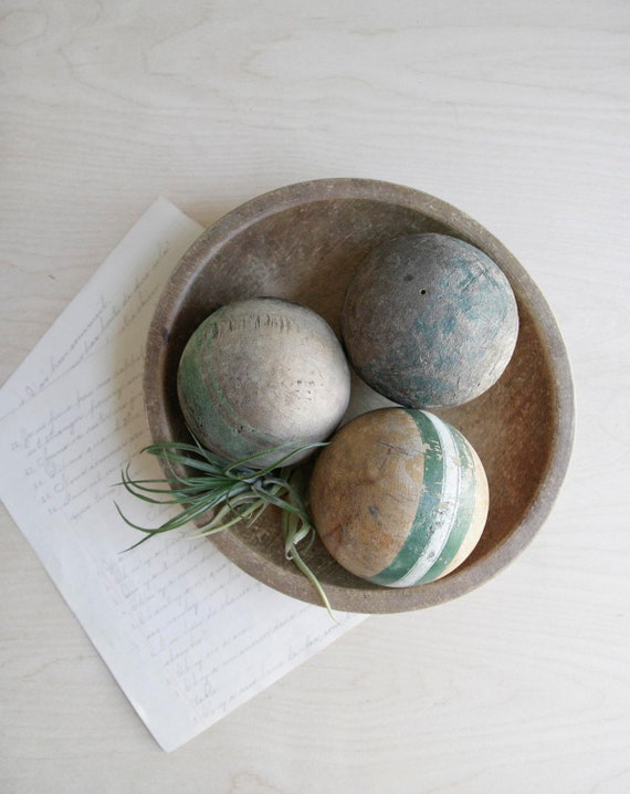 antique croquet ball collection / green