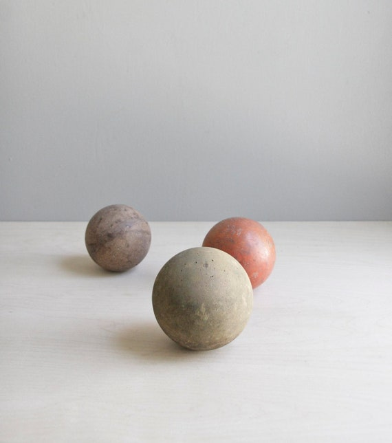 antique croquet ball collection / neutral