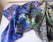 SALE - Small Watercolor Pixel Silk Scarf