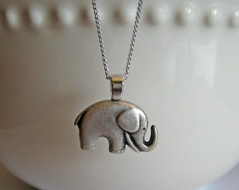 Elephant Necklace Antiqued Silver - Lucky, Button Jewelry