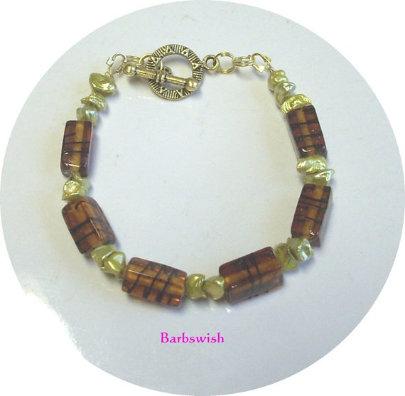 Handcrafted Beaded Bracelet  Fall Winter  Root Beer and Golden Pearls  ON SALE