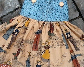 Vintage Scarecrow Print Toddler Sundress or Jumper etsykids team