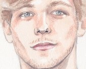 Original Watercolour Painting Louis Tomlinson One Direction