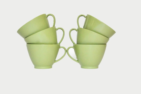 Coffee /Cups /Green/ Vintage/ Kitchen /Home Decor/ Melmac...SALE was 24.50