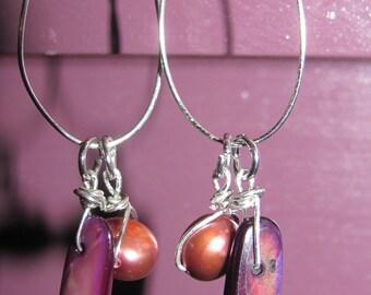 Pearl and Shell hoop earrings