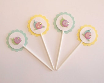 Baby Snail Cupcake Picks Set of 8 - Baby Shower, Kids Party, Aqua and Yellow Party Decoration