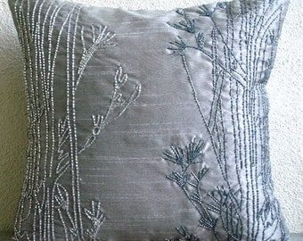 "Designer Silver Cushion Covers, Beaded Willow Pillows Cover Square  18""x18"" Silk Pillows Covers For Couch - Willow Sparkle"