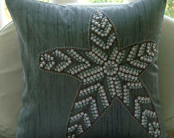 "Designer Sequins Starfish Beach & Ocean Theme Pillows Cover, Grey Decorative Pillow Cover Silk Pillows Covers For Couch,20""x20""-Starry Light"