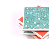 Tile Coasters -  Teal and Orange - Set of 4