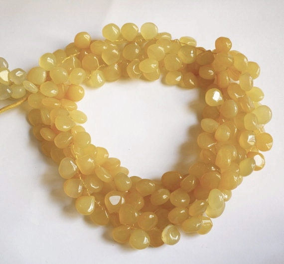 Sorbet Yellow Chalcedony Briolette Beads 550CTS QTY106