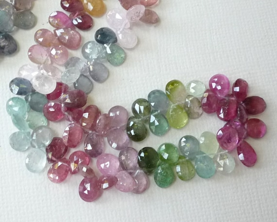 Brightly Colored Rare Fancy Tourmaline Purple Blue Lemon Pink Briolette Beads 15 Inches CLOSE In Size