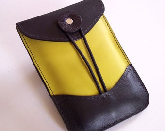 Leather Gadget or Small Phone Case - Black and Chartreuse Leather