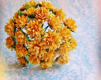 Golden Saffron yellow Dahlias Vintage style Millinery Flower Bouquet - for decorating, gift wrapping, weddings, party supply, holiday