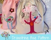Drawstring Backpack Pattern -PDF File with 2 Applique Designs