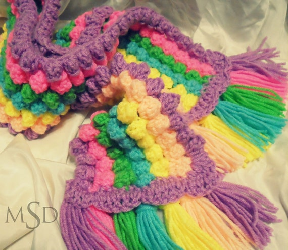 Crochet Stitches Crochet Popcorn Stitch : Items similar to Rainbow popcorn stitch crochet scarf on Etsy