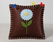 Wool Felt Pincushion • Pin Pillow • Light Blue Daisy • Hand Embroidered • Chocolate Brown