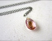 Lilac Necklace - ametrine necklace, pale purple necklace, oxidized sterling silver lilac purple stone necklace, simple, organic, OS11