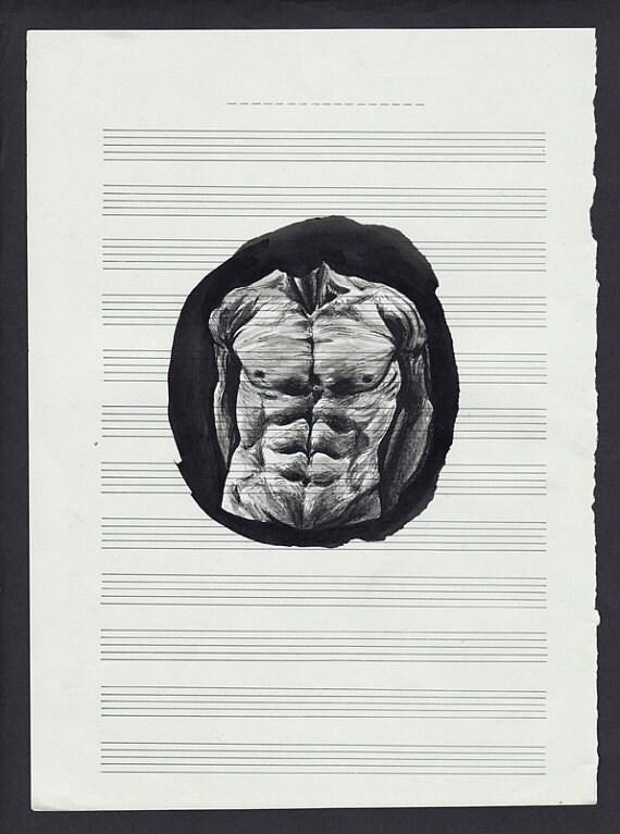 Body - original painting on music sheet