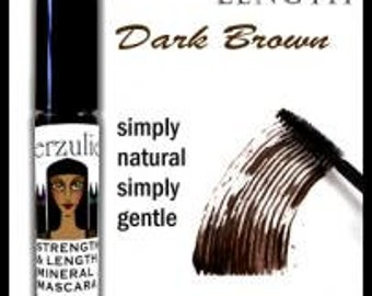 All Natural Mineral Mascara  Dark Brown   Gentle Mascara Formula with pro-vitamin B5 Unscented