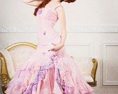 Fairy Fishtail Mermaid Fantasy Wedding Gown Lace Back with Ruffles Custom