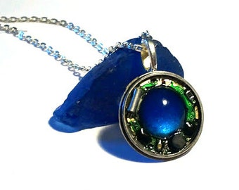 Round Circuit Board Necklace with Blue Stone