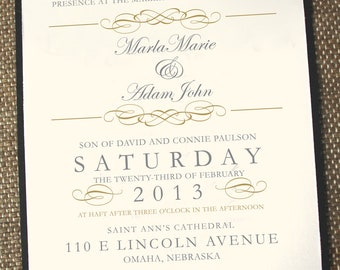 Black and Gold Invitations Gold Wedding Invitations Elegant