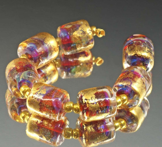Encased Handmade Lampwork Beads - pink, magenta, silver blue, gold glitter, gold leaf - Lux Pink, SRA