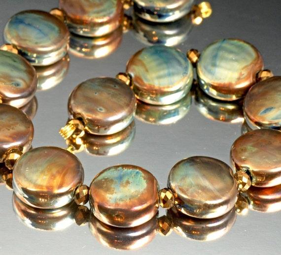 Metallic Lampwork beads, handmade - bronze gold metallic - Steampunk Lentils, SRA