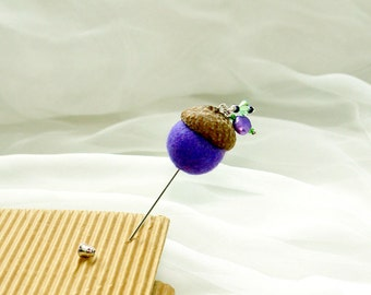 Felt Acorn pin/ The Cute Acorn- to wake up for new day/ Hand felted  pin brooch/ boutonniere/ purple and brown