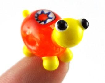 Orange Sunshine Turtle Lampworked Glass Figurine Bead