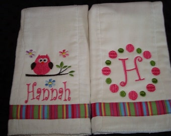 Hannah Personalized Burps Set - Personalized with your choice of name and and initial