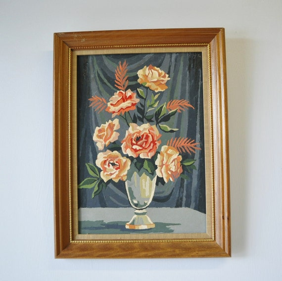 1950s vintage paint by number rose picture with wooden frame