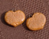 Ceramic Heart Charms in Butterscotch