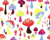 Willow Shroom Woodland Folkloric Cotton Fabric - craftykathleen
