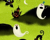 Nightmare Manor  Halloween Green Ghosts Graveyard Fabric SKU Q1657-87633-719W