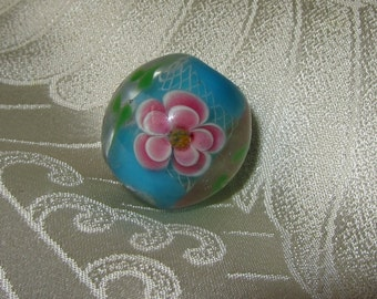 Traditional Japanese Handmade Tombodama Satake Lampwork Glass Bead Round with Peony Flowers