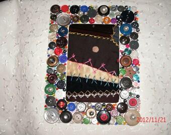 BUTTON EMBELLISHED FRAMED vintage crazy quilt vintage crochet button Mop buttons Sale coupon for reduction