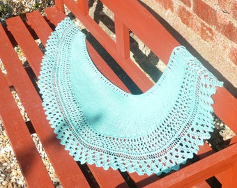 Crescent Shawl Knitting Pattern - Talmont Lace Shawlette - Lacy Wrap - Lace Scarf