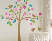 Whimsical Flower Tree with Love Birds Kids Wall Decal, Tree Wall Decal, Nursery Vinyl Wall Decal Art Decor, Tree Sticker, Nursery Tree Decal