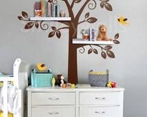 Children Wall Decal Shelf Tree Wall Decal, Tree Wall decal, Shelving Tree Wall Decal, Nursery Decal Wall Sticker, Shelves Tree Decal Sticker