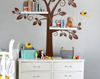 Children Wall Decal Shelf Tree Wall Decal, Tree Wall Decal, Shelving Tree  Wall Decal