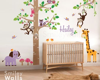 Jungle Animals Safari tree decal Children Wall Decal Personalized HUGE Set Nursery Kids Playroom Sticker Wall decor Baby decal