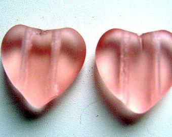 Spacer,  2 STRAND, Heart, Czech, VINTAGE,  Glass,, Beads, Flat,Puffy, 12 x 12mm , Matte, Pink