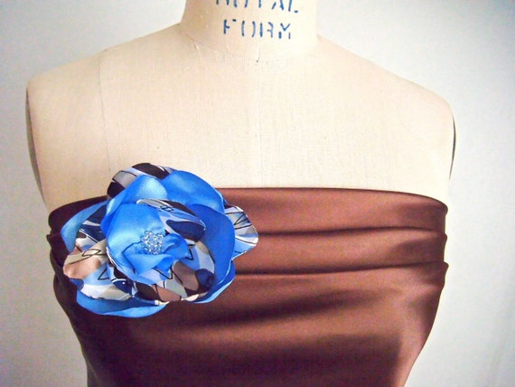 Flower Pin - Blue and Brown Wedding - Bridesmaid Pin - Flower brooch - Satin Flower - Fall Wedding - Womens Accessories - bridesmaid gift -
