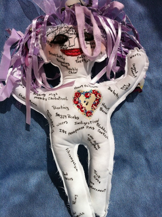 Violet hair and Brown eyed Ache and Pain Doll great for Birthdays, Retirement, doctors, nurses....