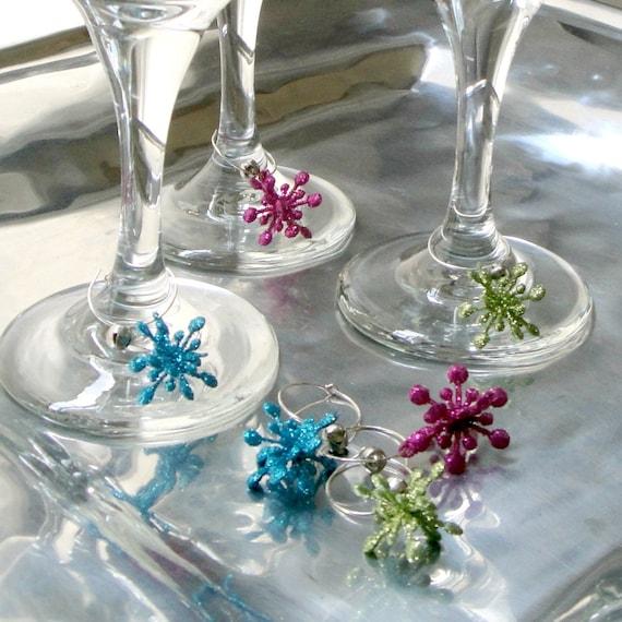 Very Sparkly Snowflake Handmade Christmas Wine Glass Charms - Set of 6