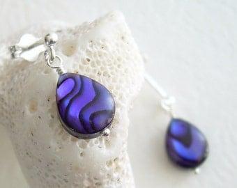 Purple Shell Earrings, Paua Abalone Jewelry, Shell Post Earrings