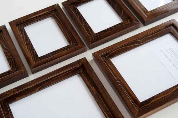 Picture Frames - 6 Piece Frame Collection 2) 8x10's  & 4) 5x7's  Stacked pine frames stained dark walnut with a glossy finish