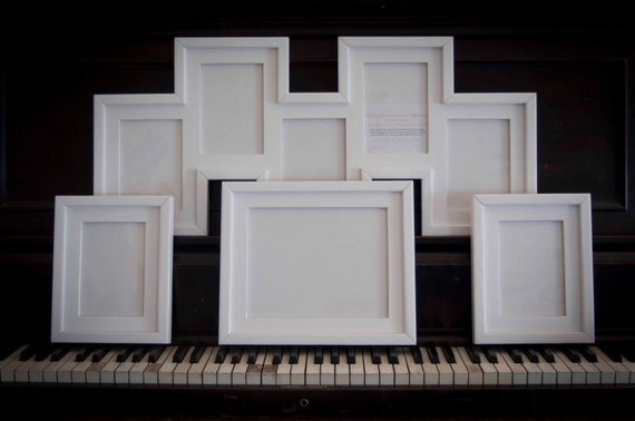 4 Piece Frame Collection 1) 8x10 2) 5x7's and 1) 5 staggered opening 5x7 Stacked pine frames ...Glossy White...NOT distressed